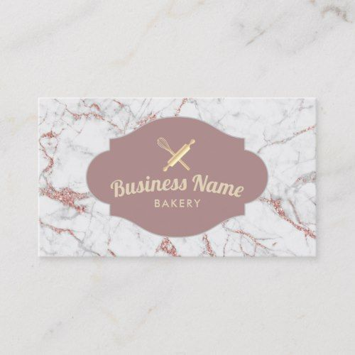 Bakery Pastry Chef Modern Rose Gold Marble Business Card Zazzle Com Bakery Business Cards Baking Business Cards Rose Gold Business Card