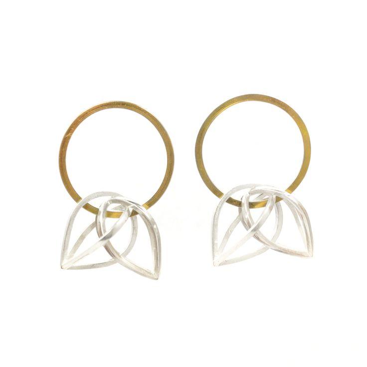 Orbit Earrings by Gina Pankowski in Sterling Silver & 22k Bi-Metal