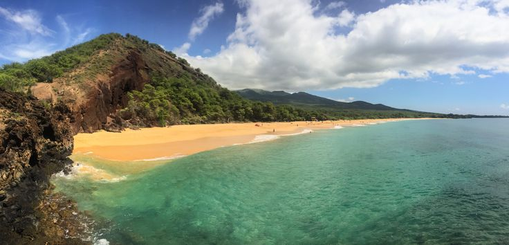"""Here's a view of Makena """"Big Beach"""" from a small outcropping.  This was the first beach I ever experienced in Hawaii and such it's like my """"first love"""" in terms of beaches."""