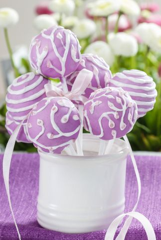 Cake pops. Too pretty to eat. Love the color.