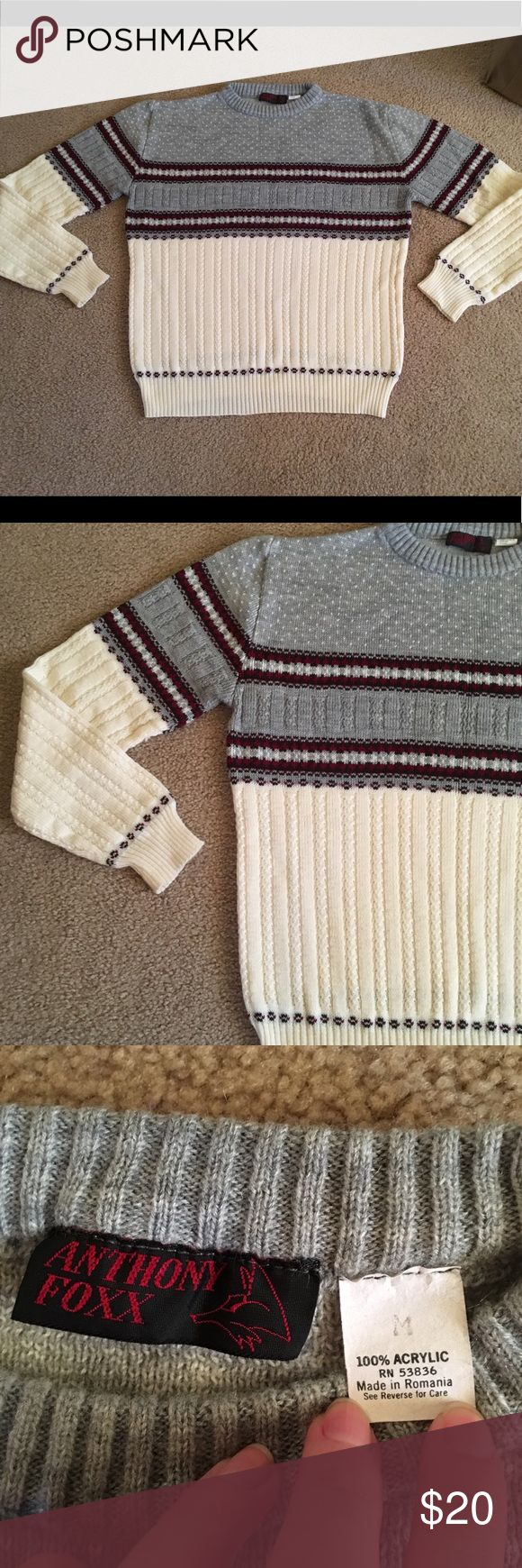 Men's Patterned Sweater Vintage men's sweater with striped pattern. Grey, cream, and red. Anthony Foxx brand, size M. Great used condition. Slight pull on fabric as seen in photos. See photos for measurements (pit to pit and sweater length). Anthony Foxx Sweaters Crewneck