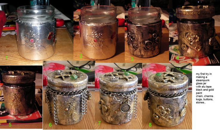 steampunk inspired glass jar by using alu tape black and gold paint,  added chains, stones, charms cogs and buttons