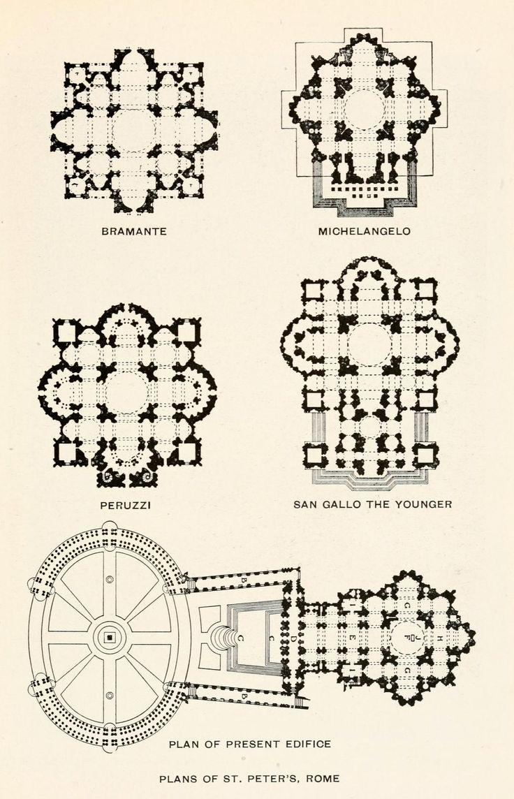 Basilica di San Pietro a Roma - Confronto tra progetti - Piante