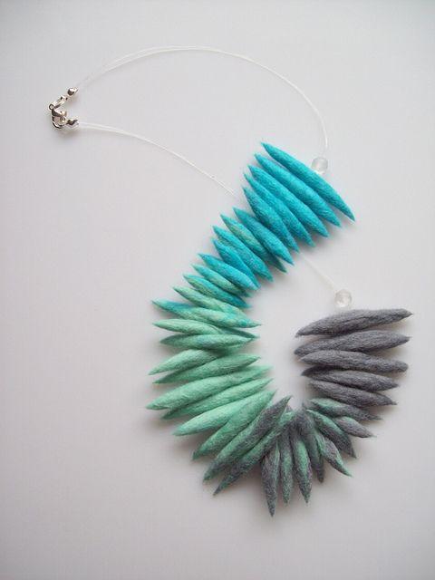 aqua and grey felt necklace by mimozadesign, via Flickr