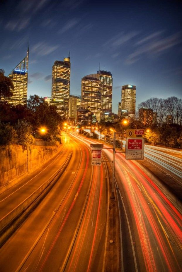 Top spot for some light trail photography towards Sydney CBD