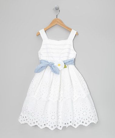 Take a look at this White Daisy Tie Dress - Toddler & Girls by Bloome on #zulily today!