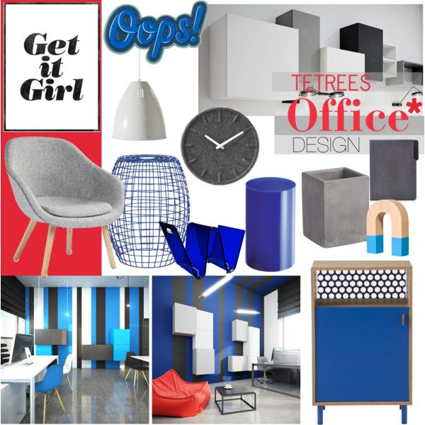 """""""Blue and Gray Office Design"""" by tetrees on Polyvore #office with #tetrees #furniture"""