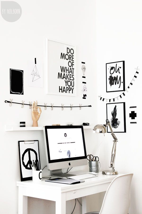 .home office creative space black and white prints quotes peace desk chair objects
