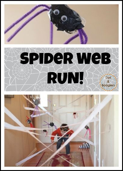 Spider Web Run:  A great activity to keep get the kids moving!  Not just for Halloween, but all year round.