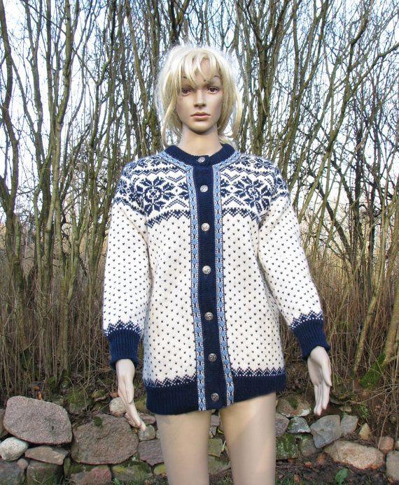 Norwegian SWEATER Dale of Norway CARDIGAN pattern NORDIC winter wool jumper