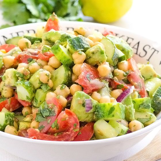 Chickpea and Avocado Garden Salad Recipe Salads with chickpeas, cucumber, tomatoes, avocado, purple onion, cilantro, lemon, olive oil, salt, black pepper