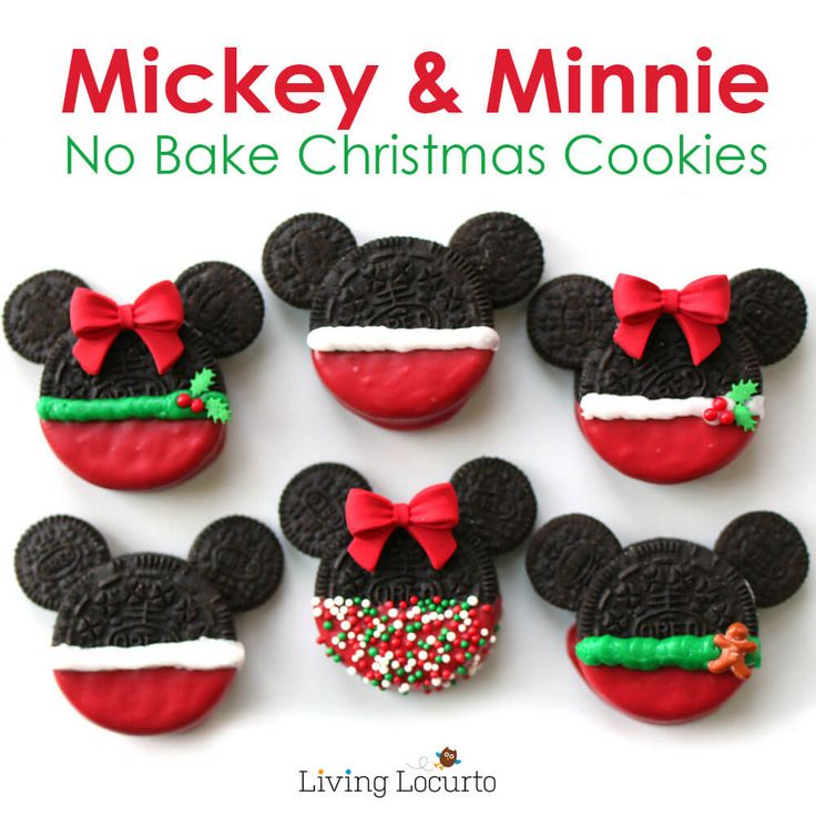 Mickey and Minnie no bake Christmas cookies from Living Locurto