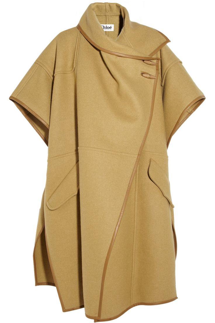 Chloé Leather-trimmed wool-blend cape NET-A-PORTER.COM