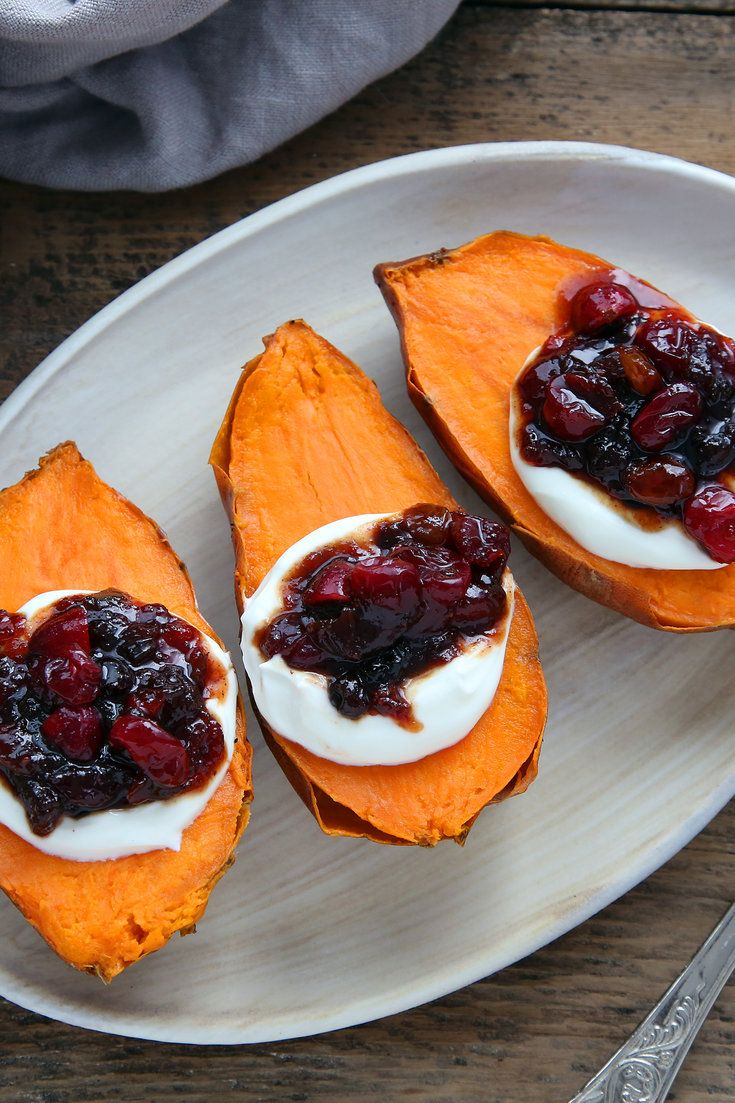 This is an easy and surprisingly delicious way to get a dramatic-looking sweet-potato dish on the table with little fuss. The heat of the jalapeños in the chutney, mixed with aromatic vegetables and the sweetness of the dried fruit, gives the cranberries depth. A dollop of sour cream goes on the halved sweet potato, followed by a generous spoonful of chutney. (Photo: Jim Wilson/The New York Times)