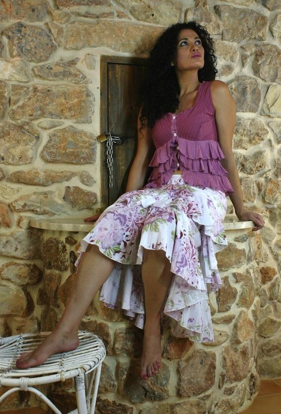 Mauve/violet floral skirt
