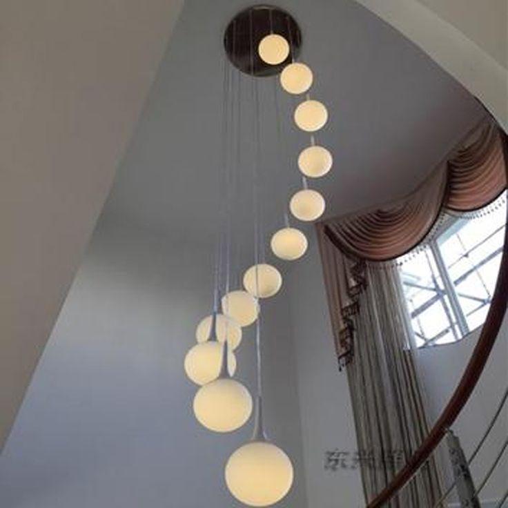 LED double staircase Light Chandelier villa creative modern minimalist living room lighting lamp ball rotating restaurant #Affiliate