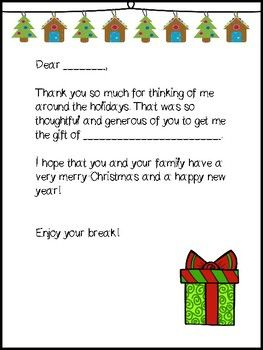 Around the holidays, kids bring in presents for teachers and it gets difficult to find the time to write out cards to each student. This product allows you to print out the universal thank you letters on either colored paper or with colored ink. I included three options for you to choose from.