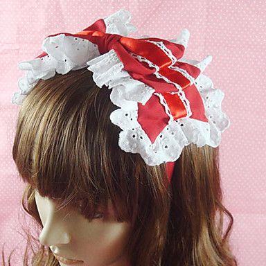 Handmade Red Cotton White Lace 25 centimetri Bow Sweet Lolita caschetto – EUR € 11.54