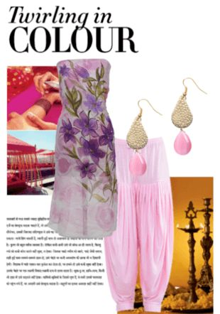 purple floral chiffon material,elegant pink knitted patiala salwar,trendy golden earrings with pink drop.