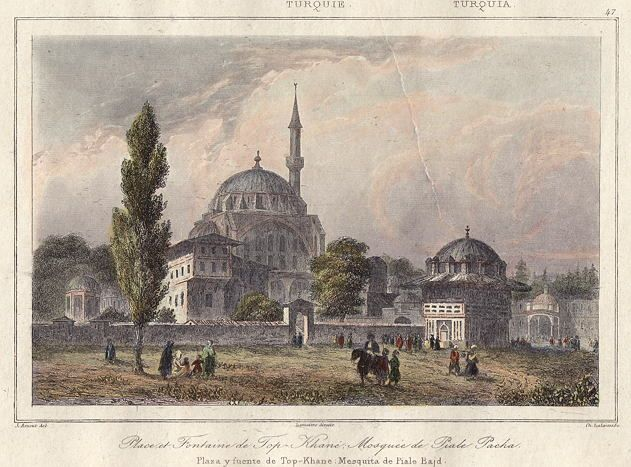 Turkey, Istanbul, Fountain & Mosque at Top-Khane, 1847