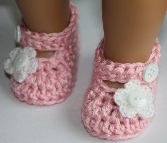 Baby Girl Crochet Pink White Flower Mary Janes Baby Janes