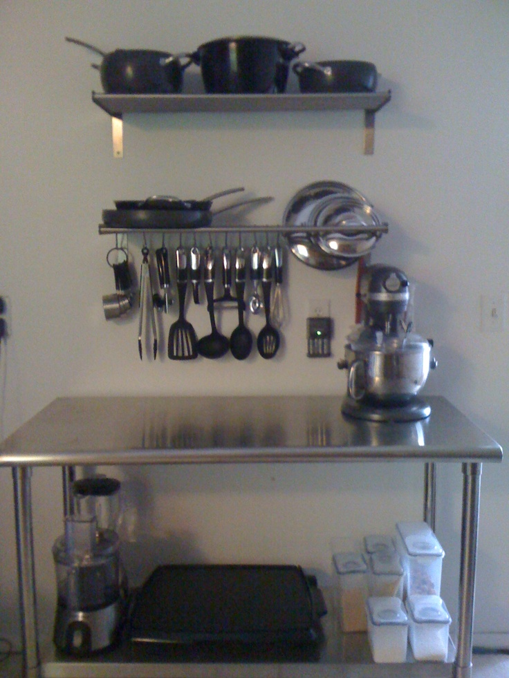Shelves and s hooks from Ikea stainless steel prep