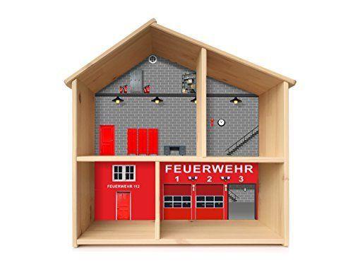 """""""FEUERWEHR"""" Aufkleber - PHF03 - passend für das Puppenhaus FLISAT von IKEA - Bestehend aus 3 passgenauen Klebefolien (Puppenhaus nicht inklusive)"""