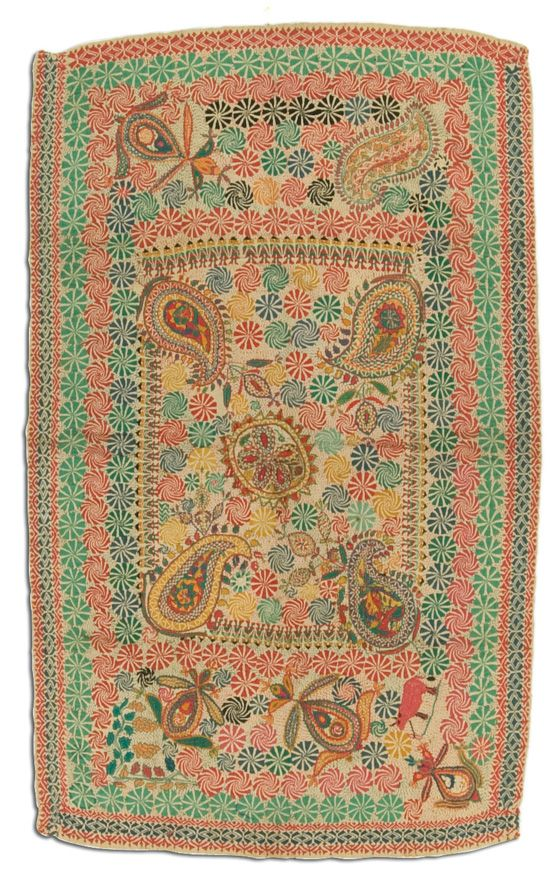 Kantha, probably made in Jessore, Bangladesh, circa 1950-2000, 47 x 27.5 in