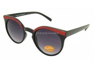 Black Red Fashion Thick Circle Round Cat Eye Sunglasses Vintage Retro Designer $76
