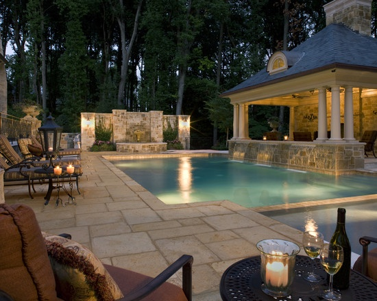 What a beautiful #pool in this #outdoor living! And warm lights give home the right atmosphere!
