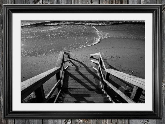 Black and White photography wall art beach by NadbradDesigns