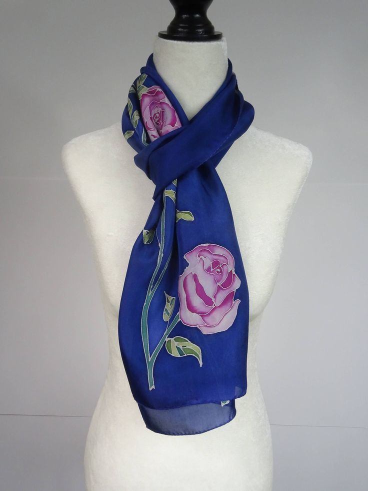Hand painted silk scarf, pink, green and blue,pink roses, handmade, handpainted floral silk scarf, blue and pink scarf, pink floral scarf by SeesaSilk on Etsy