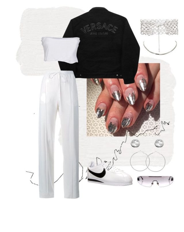 monochrome by avabrit on Polyvore featuring polyvore, fashion, style, Twin-Set, Versace Jeans Couture, Chloé, NIKE, Kenneth Jay Lane, Gucci, Chopard, Chanel, HallWay and clothing