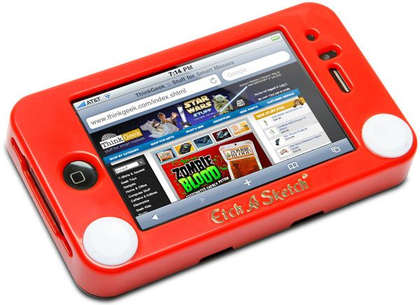 Functional, whimsical iPhone protective case made of impact resistant ABS plastic and molded to look exactly like a tiny Etch-a-Sketch. You can run the Etch-a-Sketch app while using your iPhone 4 in its Etch-a-Sketch case,