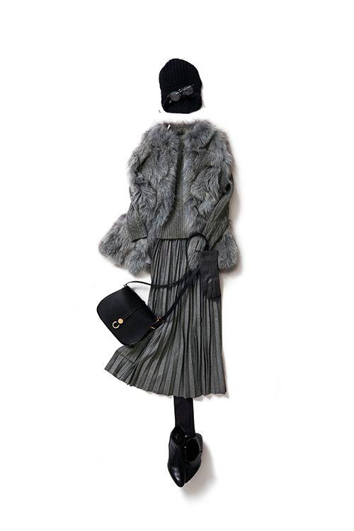 今着たいグレートーンのスカートスタイル