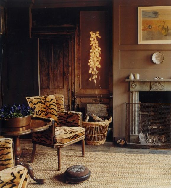 Le tigre fabric / World of Interiors / tiger stripe chairs