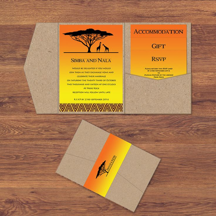 The Disney Inspired Lion King Pocketfold Wedding Invitation. Perfect for destination, travel, safari, disney, fairytale, african, romance, unusual, animal, theme weddings.
