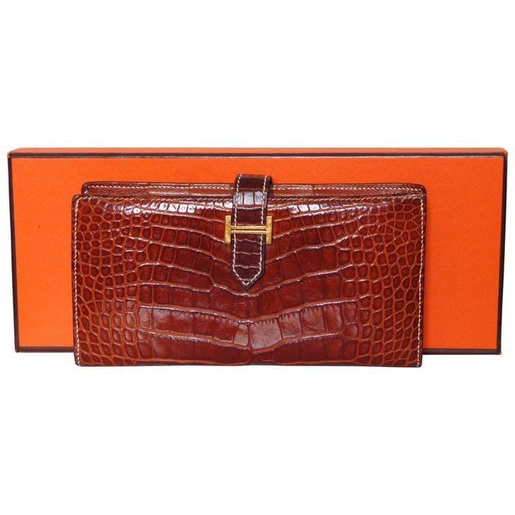 Hermes Alligator Wallet Béarn Gusset Honey Miel with Contrast Stitching   Box 04 | From a collection of rare vintage wallets and small accessories at https://www.1stdibs.com/fashion/handbags-purses-bags/wallets-small-accessories/
