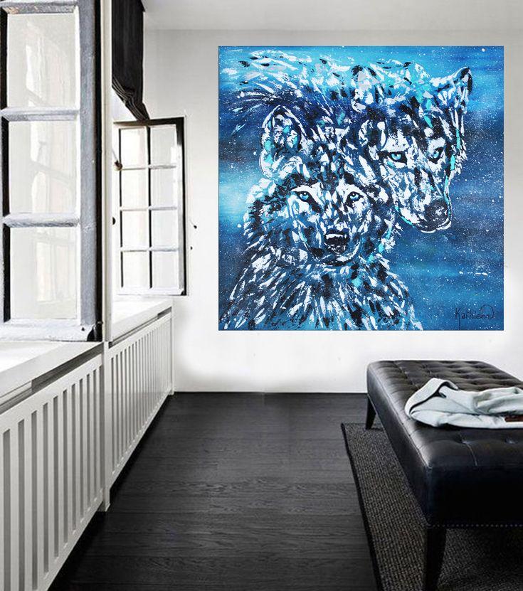 CANVAS PRINT, Wolves Print Canvas, Large Print Art, Wolf Decor Modern, Wolves Painting, Wolves Print,Wolf Print Art Decor by Kathleen Artist