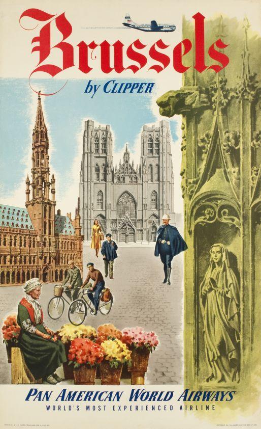 BELGIUM - Brussels, Pan American World Airways Brussels by Clipper #Vintage #Travel