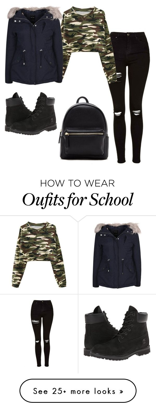 """""""camouflage nice school ootd"""" by shopaholic02 on Polyvore featuring Topshop, Chicnova Fashion, Timberland, New Look and Forever 21"""