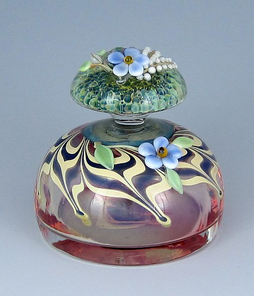"""""""Pink Designed Bottle""""  Art Glass Perfume Bottle  Created by Chris Panto"""
