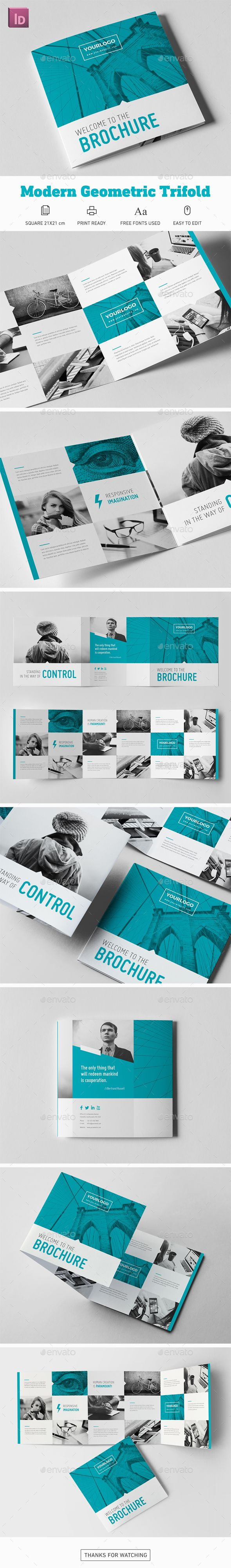 Modern Geometric Square Trifold Brochure Template InDesign INDD