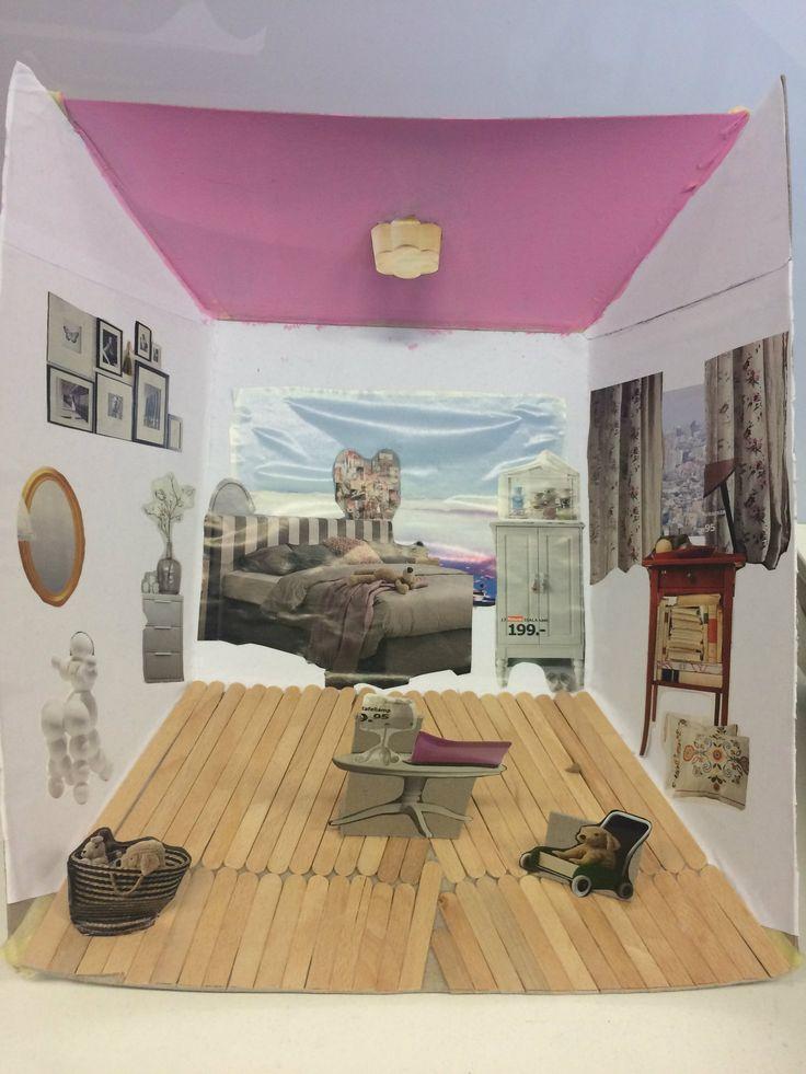 Het resultaat vind ik best goed gelukt!  De ijsstokjes geven een leuk effect als houten vloer. Het roze plafond vind ik ook een leuke twist omdat het niet vaak voorkomt, een gekleurd plafond. Ook ben ik blij met de voorwerpen in de kamer, die zouden echt bij degene passen waarvoor wij deze kamer hebben ingericht.