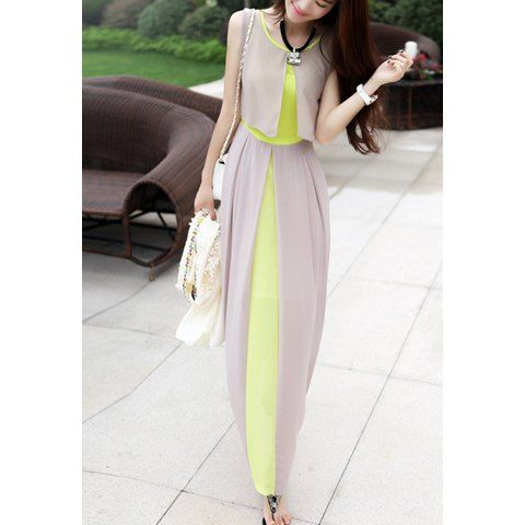 Sleeveless Scoop Neck High Waistline Stitching Cape-style Ladylike Women's Dress, AS THE PICTURE, L in Chiffon Dresses   DressLily.com