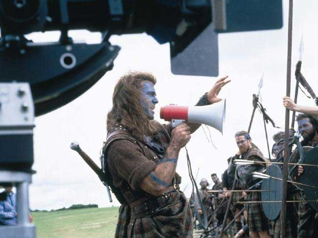 Mel Gibson directing on the set of Braveheart.