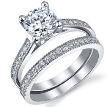 Brilliant CZ Sterling Silver 925  #Wedding #Engagement #Ring Band Set Sizes 5 to 9