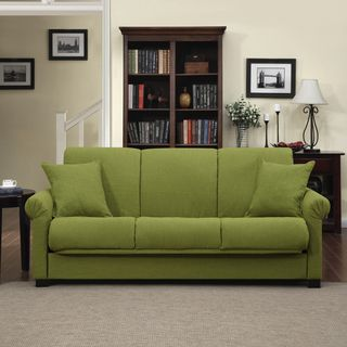 @Overstock.com - Portfolio Rio Convert-a-Couch Apple Green Linen Futon Sofa Sleeper - Relax with style and comfort when you add this versatile futon sofa sleeper to your home decor. This ten-inch pillow top couch converts to a full size bed or a recliner in an instant. Made of hardwood, steel, and polyester, this product is very durable.  http://www.overstock.com/Home-Garden/Portfolio-Rio-Convert-a-Couch-Apple-Green-Linen-Futon-Sofa-Sleeper/8119646/product.html?CID=214117 $453.59