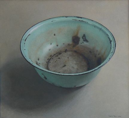 Diane McLean Deep turquoise bowl (2010), oil on board, 670 x 740 mm.