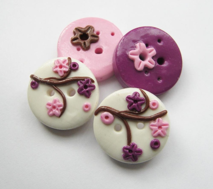 Cherry blossom - set of 4 polymer clay buttons. #buttons